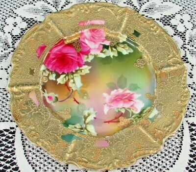Unmarked Nippon Hand Painted Pink Roses Heavy Gold Gilt Display Plate
