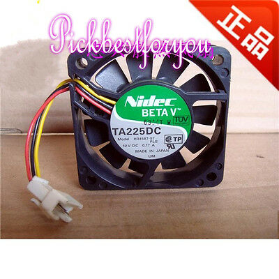 NIDEC TA225DC H34587-57 DLP cooling fan DC12V 0.17A 60*60*15mm 3pin #MG71 QL