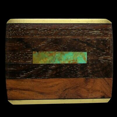Vtg Exotic Wood Inlay Turquoise Hippie Boho Art Brass Handmade Belt Buckle