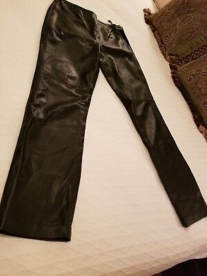 6c5f09c65161b9 Hugo Buscati Collection Women's Leather Pants Black Size 12 Tall Preowned.