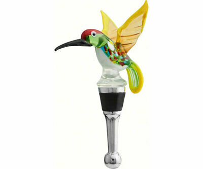 Collectible Blown Glass Creatures Bottle Stopper - Hummingbird  - Bs-400