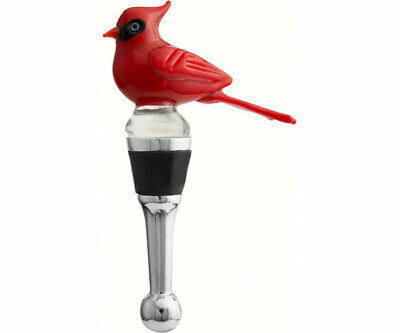 Collectible Blown Glass Creatures Bottle Stopper -Cardinal- Bs-410