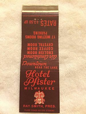 Vintage HOTEL PFISTER advertising MATCHBOOK cover $3.50 Room Milwaukee Wisconsin