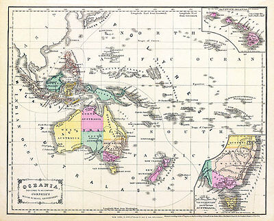 Australia Oceania Cornells 1856 Vintage Map A2+ High Quality Canvas Art Print