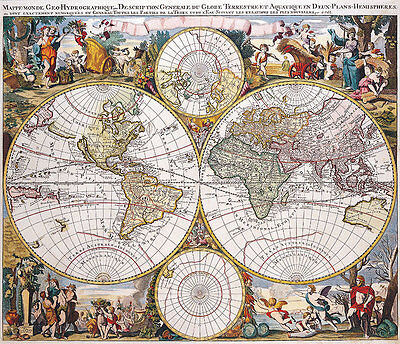 Double Hemisphere Vintage Polar Map 1686 A2 High Quality Canvas Art Print