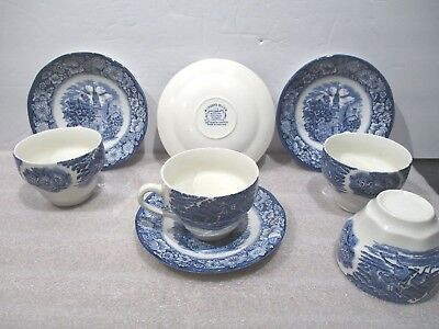 4 Staffordshire China LIBERTY BLUE Cup & Saucer Old North Church Paul Revere