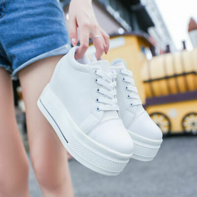 3e67302172aa New Women Platform Hidden Wedge high heel Canvas Lace-up Creepers Sneakers  Boots