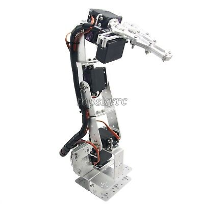 6DOF Aluminium Clamp Claw Mount Kit Mechanical Robotic Arm With Servos& horns