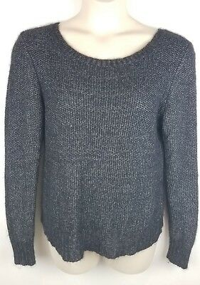 Womens Eileen Fisher Sweater Size L Large Long Sleeve Charcoal Chunky Knit  Crew c751b93f0