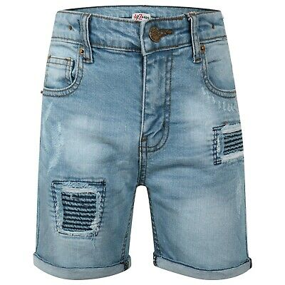 Kids Boys Shorts Light Blue Denim Ripped Chino Bermuda Jeans Short Knee Length