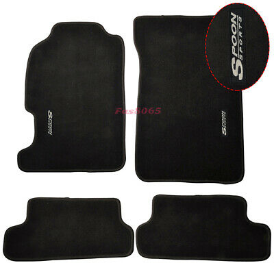 Fits 97-01 Honda Prelude Floor Mats Front &Rear Nylon Black w/Spoon Embrodery