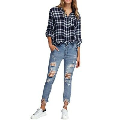 Casual Wear Slim Women Hole Ripped Ankle-Length Mid Ankle Jeans X142