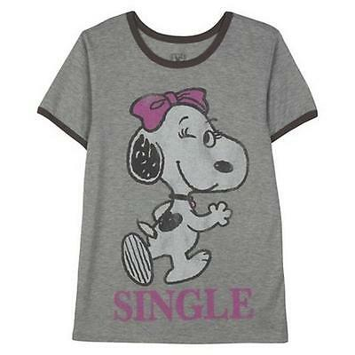 f659465d8 New Valentine Snoopy Grey T-Shirt Juniors cap sleeves