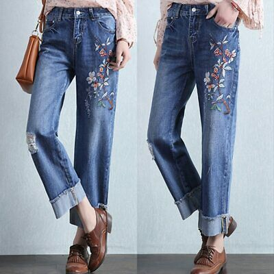 Denim Cloth Wide Leg Pants Flower Embroidered Hole Loose Women Jeans Trouser