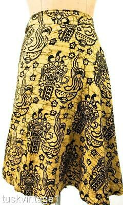 VINTAGE Indonesian muted yellow Black BATIK cotton A line WRAP SKIRT 8 10 12 14