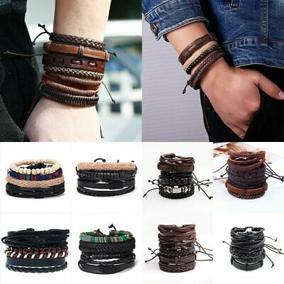 Men's Women's Punk Multilayer Leather Bracelet Wristband Bangle Jewelry Set Gift