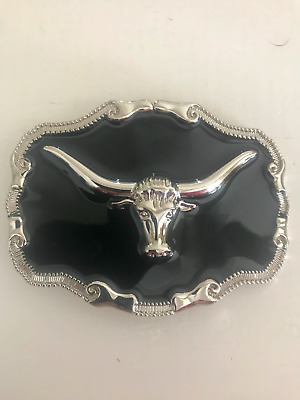 Western Style Belt Buckle Silver Longhorn Bull Cowboy Rodeo Brand New In Packet
