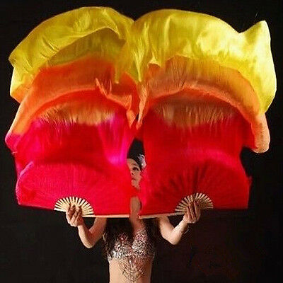1.8m Hand Made Colorful Belly Dancing Bamboo Long Silk Fans Veils Dance Fan Prop