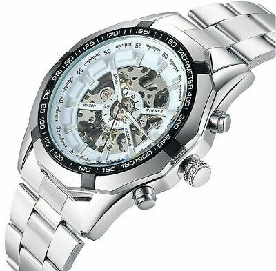 Luxury Mens Automatic Mechanical Watch Skeleton Stainless Steel Sport Wristwatch