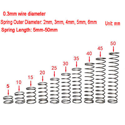 304 Stainless Steel 0.3mm Wire Dia 2-6mm O.D Compression Springs 5- 50mm Length