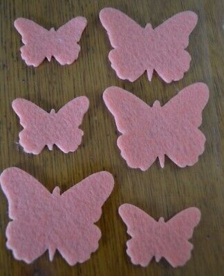 6 BUTTERFLY FELT STICKERS Shapes Scrapbooking Embellishment DIY Tag Card Craft