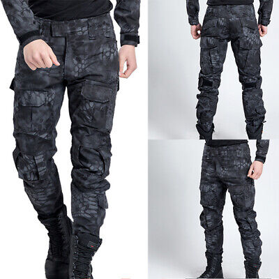 8dca016ee51fe Black Men Pant Work Camo Cargo Military Army Combat Trousers Tactical  Airsoft UK