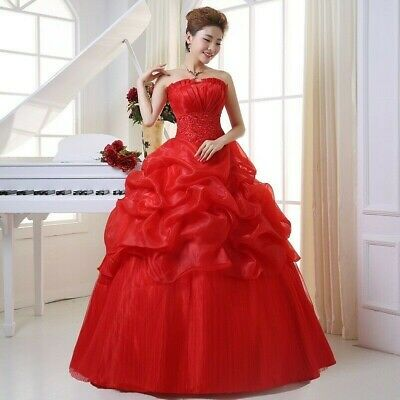 Women Boob Tube Bridal Wedding Dress Ruffle Swing Evening Party Ball Gown Formal