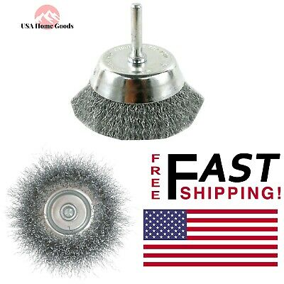 """Crimped Bristles 3"""" Wire Cup Brush Metal Cleanup Rust Removal Drill Attachment"""