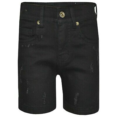 Kids Boys Denim Shorts Ripped Chino Dark Blue Bermuda Jeans Short Knee Length