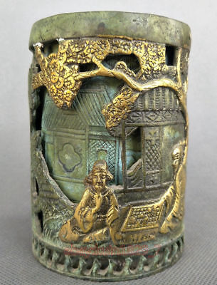 Decoration CollectionRare Old China Bronze handwork man tree jar Pen holder