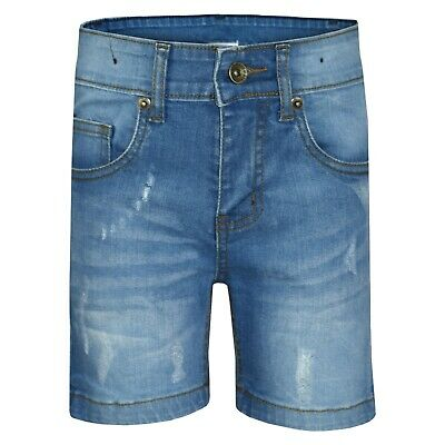 Kids Boys Shorts Denim Light Blue Ripped Chino Bermuda Jeans Short Knee Length