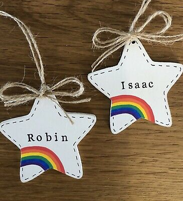 Personalised - Rainbow - Baby - Baby Girl - Baby Boy - Wooden Star - Gift Tag