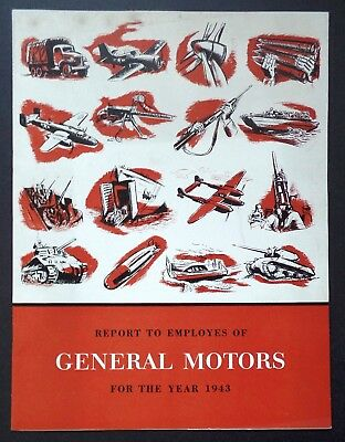 1943 General Motors Report to Employees - Rare GM World War 2 Automobile Tank