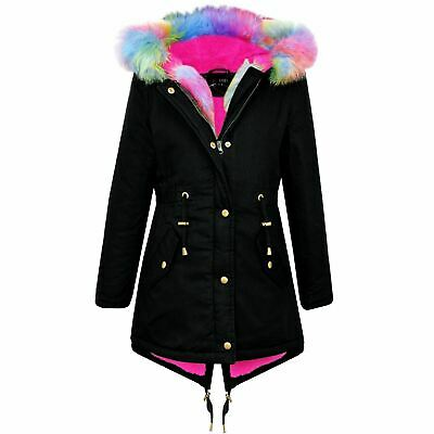 Kids Hooded Jacket Girls Rainbow Fur Black Parka School Jackets Outwear Coat7-13