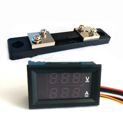 DC0-100V/10A 50A 100A LED DC Dual Display Digital Current Voltmeter Digital