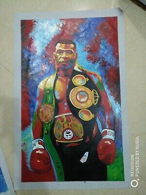 Mike Tyson Boxer Boxing Hand Painted Abstract Canvas Oil Painting Wall Art 40in
