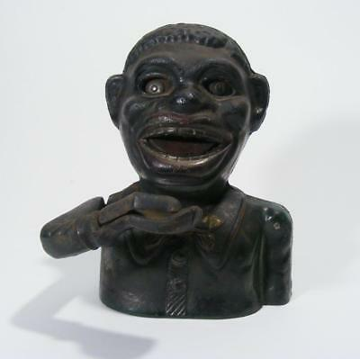 Antique Jolly Person  Mechanical Money Box Cast Iron Vintage