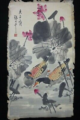"Very Large Old Chinese Hand Painting Lotus Flowers ""ZhangDaQian"" Mark"