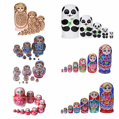 10pcs/set Wooden Russian Nesting Dolls Matryoshka Doll Hand Painted Toys Gift