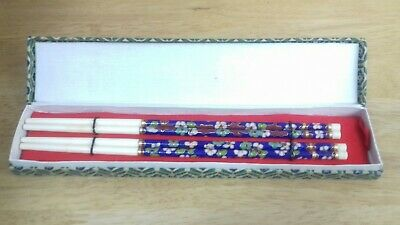 Vintage Chopsticks 2 Pairs With Box