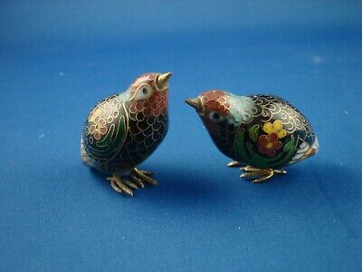 Chinese Pair of  Cloisonne Miniature Birds / Quails