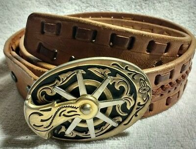 Vtg Western Cowboy Spur Buckle W  Laced Leather Belt Gold Silver tone Spins  32 7e5690f87
