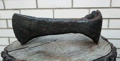Antique (17,5 cm long, 910g) Viking battle axe with tree remain 8-10 AD #257