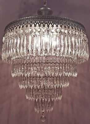 VINTAGE CRYSTAL CHANDELIER 5-TIER WEDDING CAKE CEILING LIGHT w/ 250 CZECH PRISMS