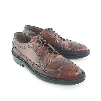 Vintage Thom McAn Leather Wing Tip Oxford Brown Dress Shoes Made In USA  Size 8.5 9ce9dfaca44