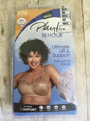 968304640e8 PLAYTEX 18 HOUR Wirefree Full Coverage Ultimate Lift Support Bra 4745 Steel  40C