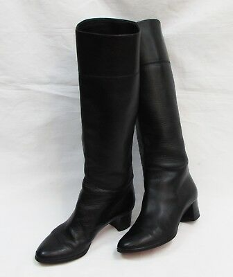 new style 5b25b 98e2c AUTHENTIC CHRISTIAN LOUBOUTIN Tuba Black Leather Knee High Riding Boot Euro  36.5