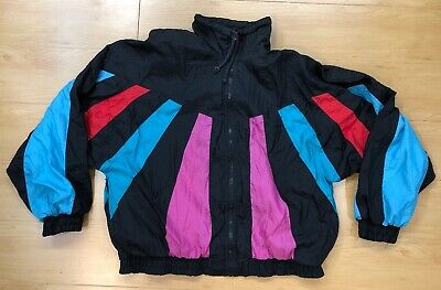 Vintage Westside Connection coat parka 80s 90s retro Neon Jacket Large Puffy