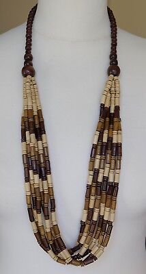 Lovely Vintage Carved Wood Light Weight Bead Multi-Strand Necklace