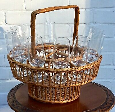 Vintage round Wicker Carrying basket,4 Bottles 12 glasses(included)picnic,party